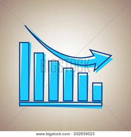 Declining graph sign. Vector. Sky blue icon with defected blue contour on beige background.