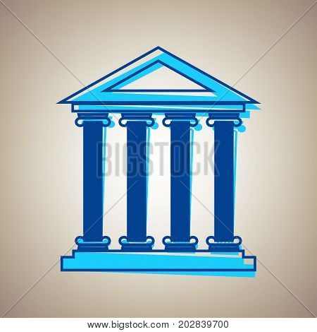 Historical building illustration. Vector. Sky blue icon with defected blue contour on beige background.