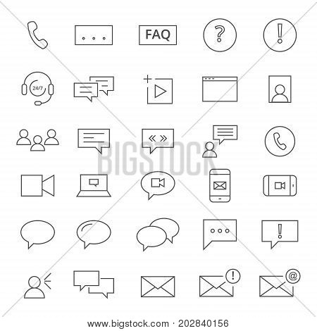 30 line icons for chating. Icons for social media.