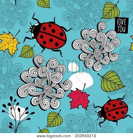 Colorful seamless pattern with ladybirds and autumn leaves. Vector endless background.