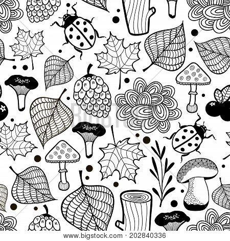 Black and white wallpaper for coloring. Vector background with bugs in the forest.