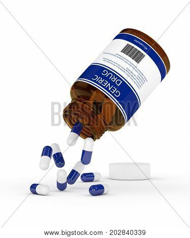 3D Render Of Generic Drug Pills In Bottle