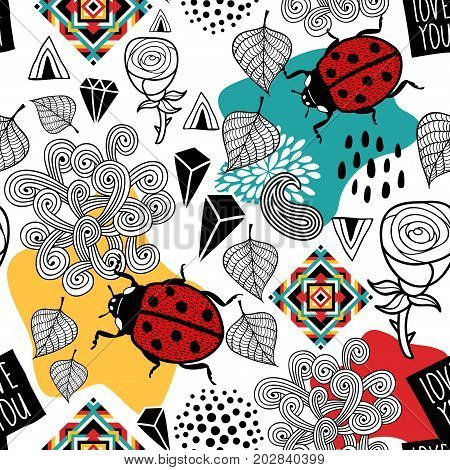 Creative vector pattern with insects and nature elements. Seamless background in modern style.