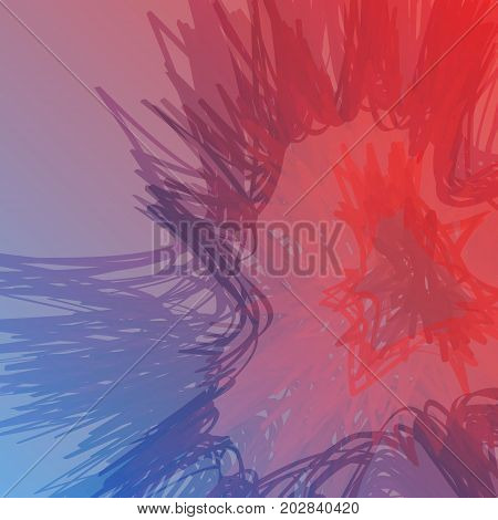Abstract vector waves, on a warm and cool background. Futuristic style card. Elegant background for business presentations. Corrupted point sphere with bokeh. Chaos aesthetics.