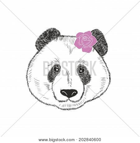 Cute and romantic panda girl with pink rose behind the ear. Vector illustration.