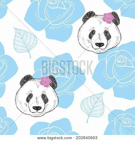 Endless background with heads of panda and flowers. Vector seamless pattern.