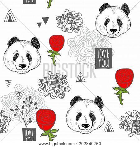 Creative romantic background with cartoon pandas. Vector seamless pattern.