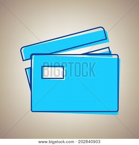Credit Card sign. Vector. Sky blue icon with defected blue contour on beige background.