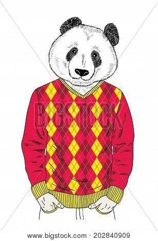 Panda boy in colorful clothes. Cartoon illustration in vector.
