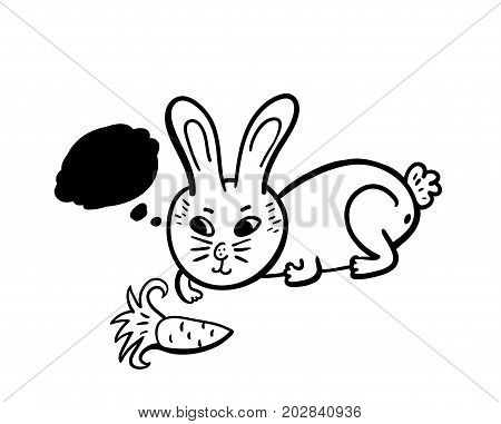 Doodle rabbit with fa carrot. Hand drawn illustration in vector.
