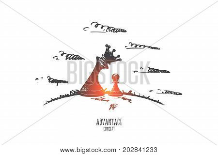 Advantage concept. Hand drawn main black chess figure facing single pawn on chessboard. Chess figure Queen as symbol of advantage isolated vector illustration.