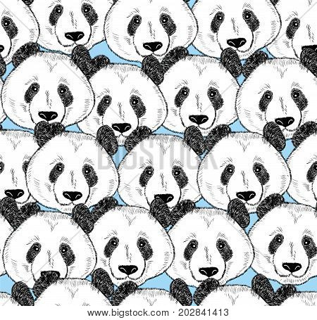 Seamless pattern with panda faces. Endless background with cute animals from China.