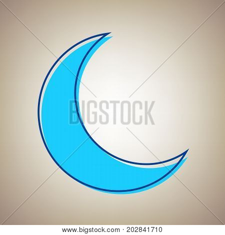 Moon sign illustration. Vector. Sky blue icon with defected blue contour on beige background.