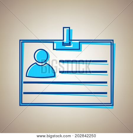 Id card sign. Vector. Sky blue icon with defected blue contour on beige background.