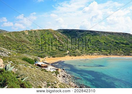 GHAJN TUHHEIHA BAY - MARCH 29, 2017 - Elevated view of Ghaja Tehheiha Bay Malta Europe, March 29, 2017.