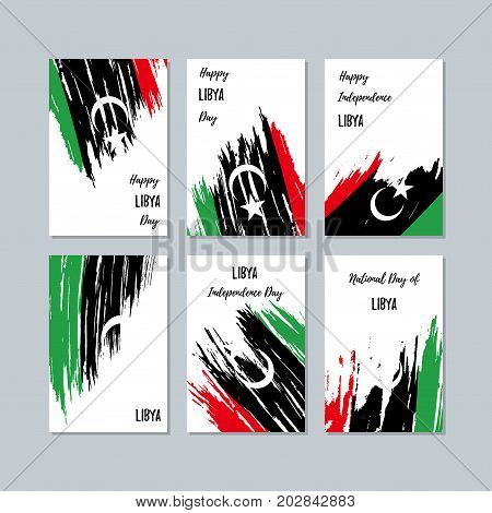Libya Patriotic Cards For National Day. Expressive Brush Stroke In National Flag Colors On White Car