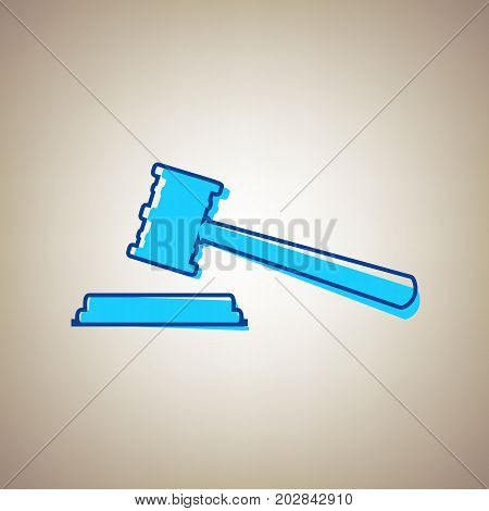 Justice hammer sign. Vector. Sky blue icon with defected blue contour on beige background.