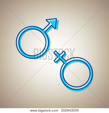 Sex symbol sign. Vector. Sky blue icon with defected blue contour on beige background.