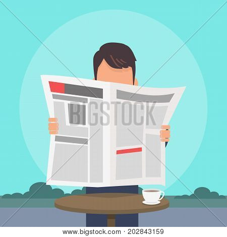 Man reading newspaper near cafe table with cup of coffee on it flat vector. Reading latest world or local news in journal. Paper mass-media illustration for business, social or political concepts