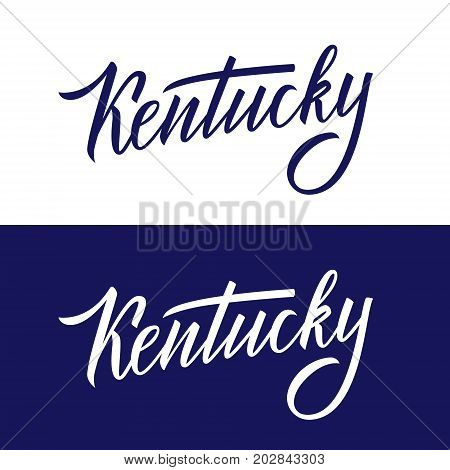 Handwritten U.S. state name Kentucky. Calligraphic element for your design. Vector illustration.