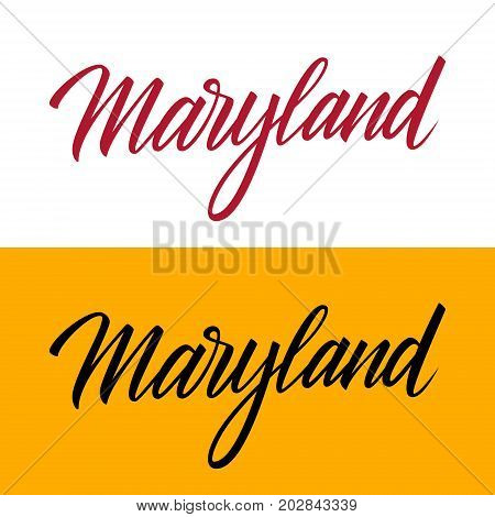 Handwritten U.S. state name Maryland. Calligraphic element for your design. Vector illustration.