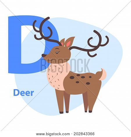 Funny alphabet with cartoon animal blue letter D and brown deer on white background. Vector illustration of entertaining ABC for babies. Drawn beast with dark horns. Flat design teaching icon.