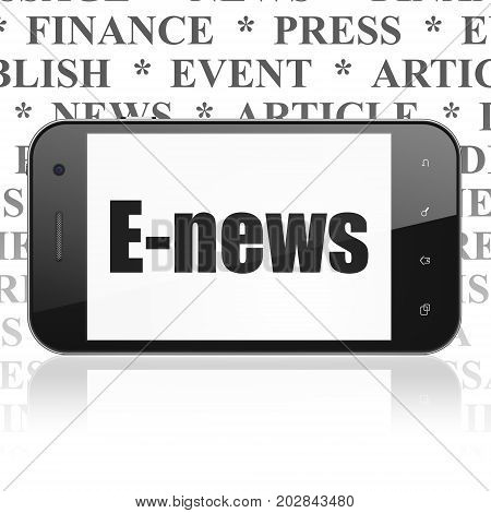 News concept: Smartphone with  black text E-news on display,  Tag Cloud background, 3D rendering