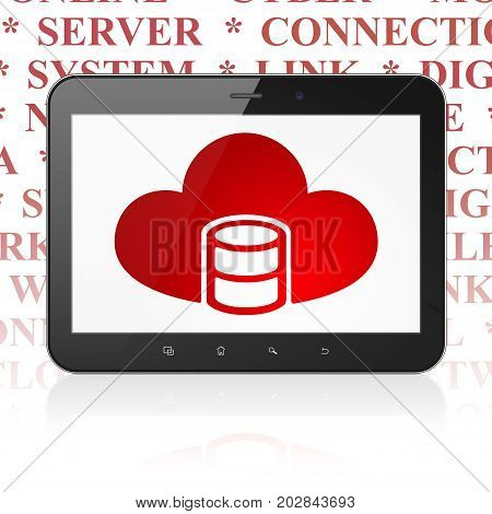 Cloud networking concept: Tablet Computer with  red Database With Cloud icon on display,  Tag Cloud background, 3D rendering