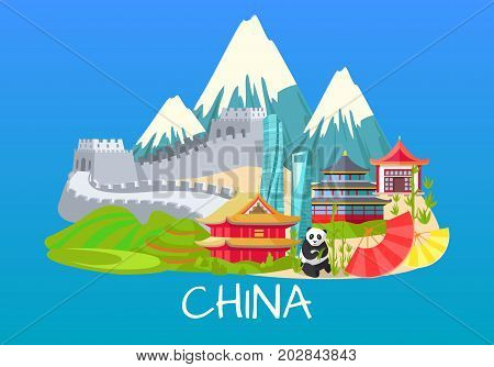Vector illustration of mountains with white tops, Great wall of China on sand, building in asian style and inscription, rare panda, asian dwellings of different types vector design illustration