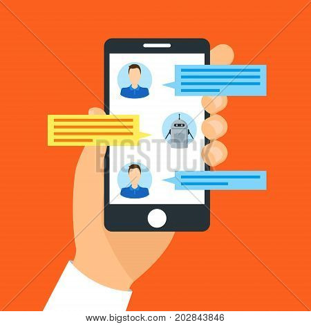Cartoon Hand Holding Smartphone Chatting with Chat Bot Technology Communication Concept Flat Style Design. Vector illustration of Messenger Device