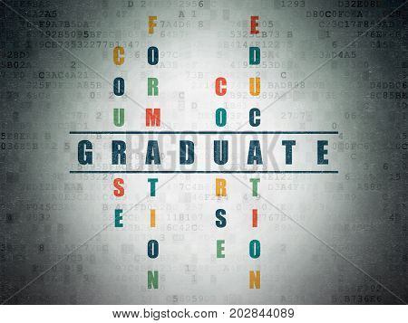Learning concept: Painted blue word Graduate in solving Crossword Puzzle on Digital Data Paper background