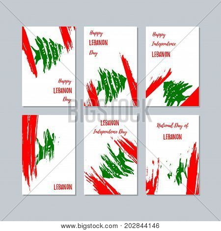 Lebanon Patriotic Cards For National Day. Expressive Brush Stroke In National Flag Colors On White C