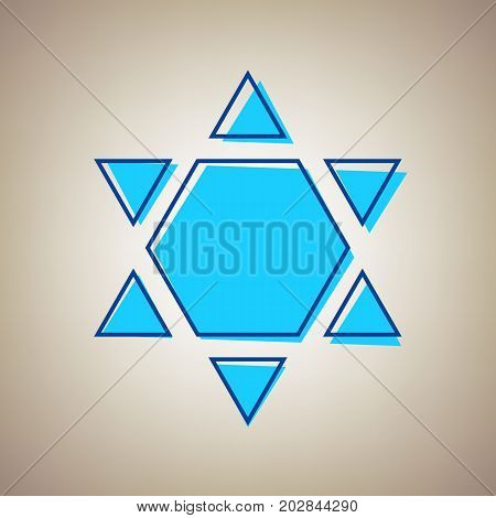 Shield Magen David Star Inverse. Symbol of Israel inverted. Vector. Sky blue icon with defected blue contour on beige background.
