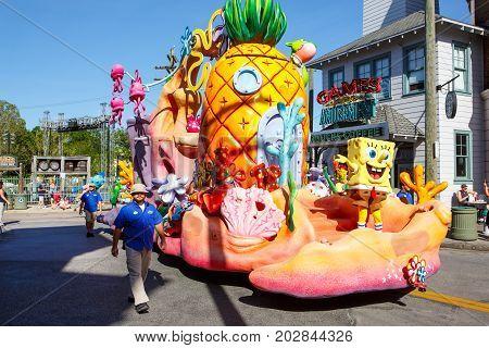 ORLANDO, FL-APRIL 19 2016: Parade of Sponge Bob in Universal Studios park in Orlando USA. Famous attraction park in Florida.