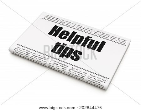 Studying concept: newspaper headline Helpful Tips on White background, 3D rendering