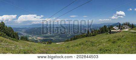 View from gondola top station on mountain Petzen to valley Drau in Carinthia in Austria