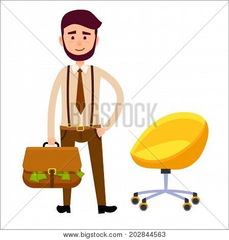 Hipster boy with briefcase full of money flat art theme on white background. Young man with dark beard standing near yellow chair on wheels. Vector illustration of personage in cartoon style.