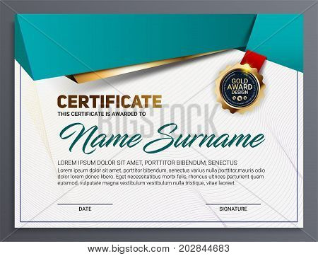 Vector certificate or diploma template with luxury line pattern and gold award emblem Vector illustration