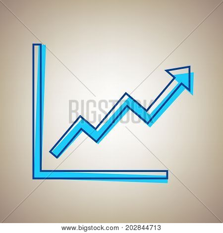 Growing bars graphic sign. Vector. Sky blue icon with defected blue contour on beige background.