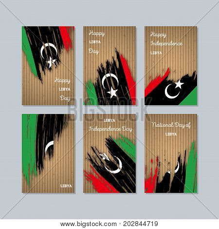 Libya Patriotic Cards For National Day. Expressive Brush Stroke In National Flag Colors On Kraft Pap