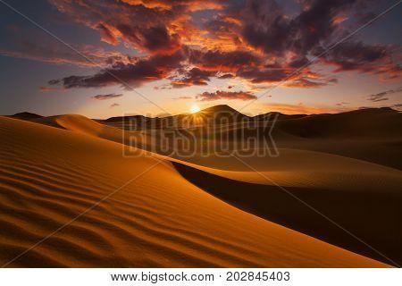 Beautiful sand dunes in the Sahara desert.