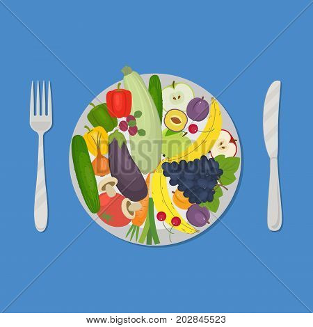 Healthy food. Plate with vegetables and fruits on a blue background. There are carrot, cucumber, tomato, eggplant, zucchini, apple, grapes, cherries and other products in the picture. Vector image.