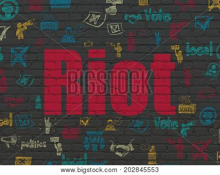Political concept: Painted red text Riot on Black Brick wall background with  Hand Drawn Politics Icons