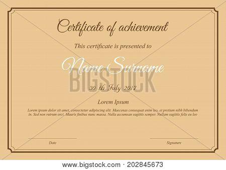 Vector Certificate Template In Brown Paper Colors