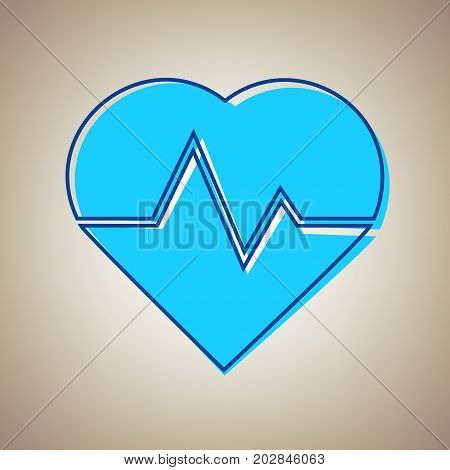 Heartbeat sign illustration. Vector. Sky blue icon with defected blue contour on beige background.