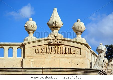 MDINA, MALTA - MARCH 29, 2017 - Name detail on top of the Casino Notabile Mdina Malta Europe, March 29, 2017.