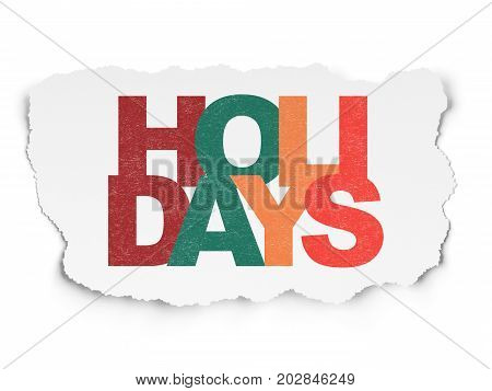 Holiday concept: Painted multicolor text Holidays on Torn Paper background
