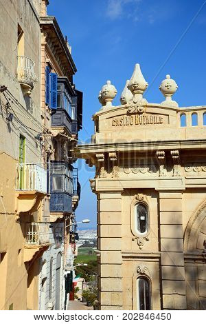 MDINA, MALTA - MARCH 29, 2017 - Townhouses and the Casino Notabile with views towards the coast Mdina Malta Europe, March 29, 2017.