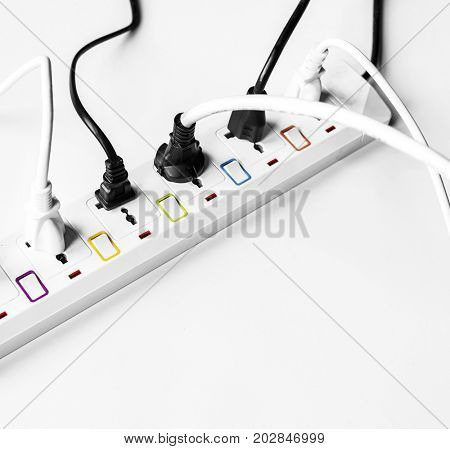 Fulled electrics power supply plug isolated on white