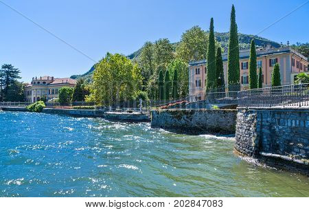 Italy Como the villas on the lakefront